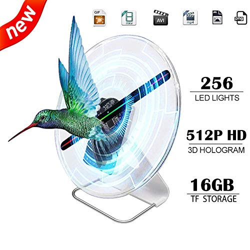 iOneSky 3D Hologram Fan Display Projector Protable Advertising Digital Holographic Fan Display Photo and 512P HD Video Advertising Projector Fan For Shops Office Business Home and Entertainment 12inch