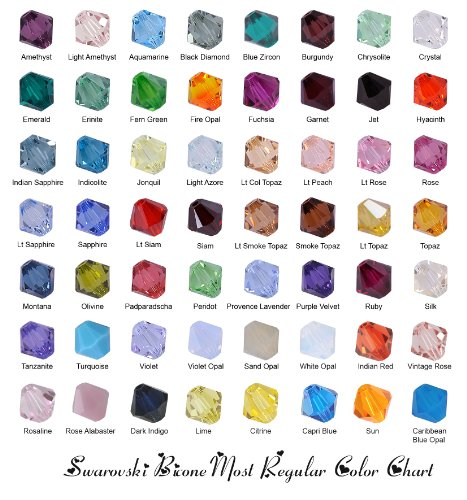 Lot 200 pcs 4mm Bicone (#5328) Swarovski Crystal Beads. Assorted (4mm Swarovski Bicone Beads)