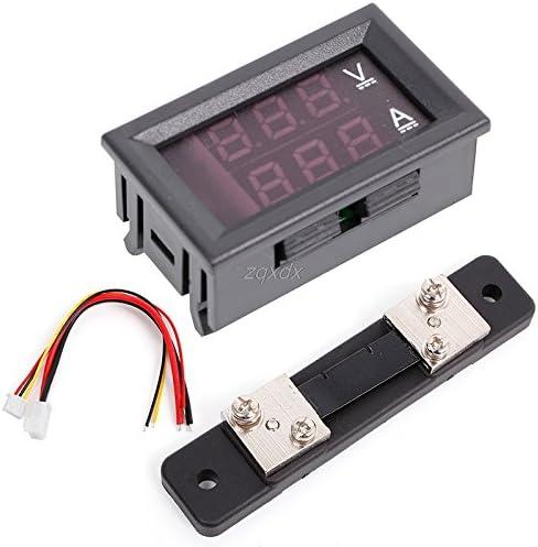 Plug Type: Universal Pukido 0-100V//50A Red Blue Digital Voltmeter Ammeter 2in1 DC Volt Amp Meter W//Shunt Z10