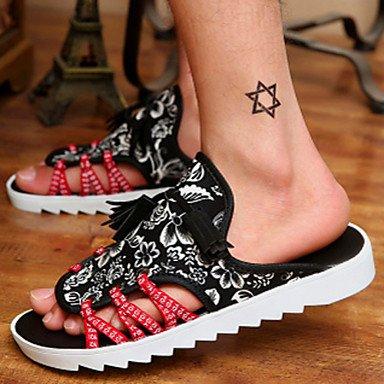 Sandalias de verano zapatos de hombre / Exterior / atléticos casual zapatillas Negro lienzo Negro