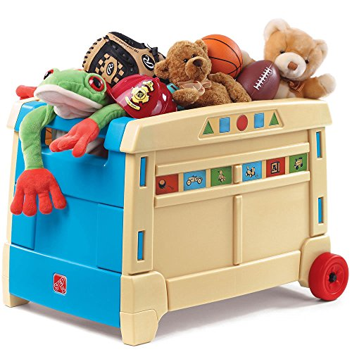 Step2 Lift and Roll Toy Box Storage for Kids - Durable Portable Children Toys Organizer, (Fabric Unfinished Chair)