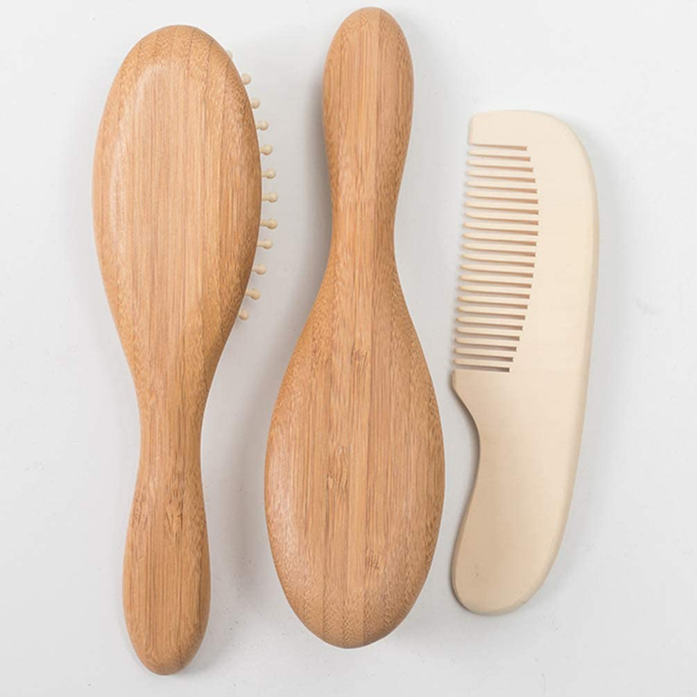 Milisten Baby Hair Brush and Comb Set for Newborn Wooden Hairbrush with Soft Goat Bristles for Cradle Cap Perfect Scalp Grooming Product for Infant Toddler Kids Baby