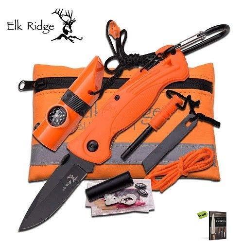 Elk Ridge PK4 Orange Hunting Tool Folding Knife with Stainless Steel Razor Sharp Blade Pocket Folder + Survival Pouch + Free eBook by SURVIVAL - Folder Pouch Stainless Damascus Steel