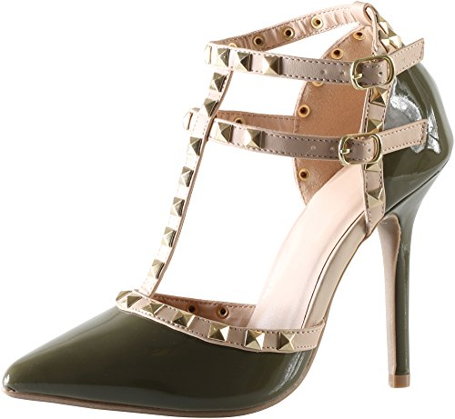 Cambridge Select Women's Closed Pointed Toe T-Strap Caged Studded Buckle High Heeled Pump,6.5 B(M) US,Olive Green Patent Pu