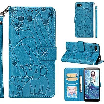 Amazon com: Gmslxy- for Huawei Y5 2018 Leather Wallet Case