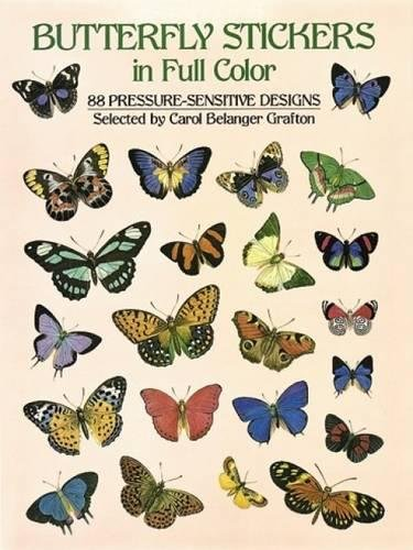 Butterfly Stickers in Full Color 88 Pressure-Sensitive Designs