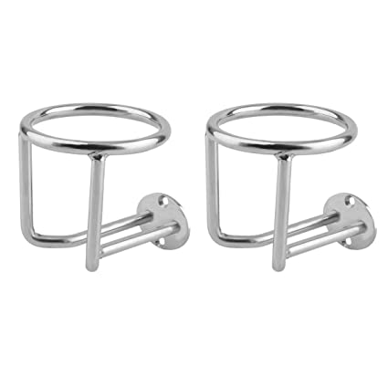 2x Silver Stainless Steel Boat 2-Ring Cup Drink Holder Marine Yacht Truck