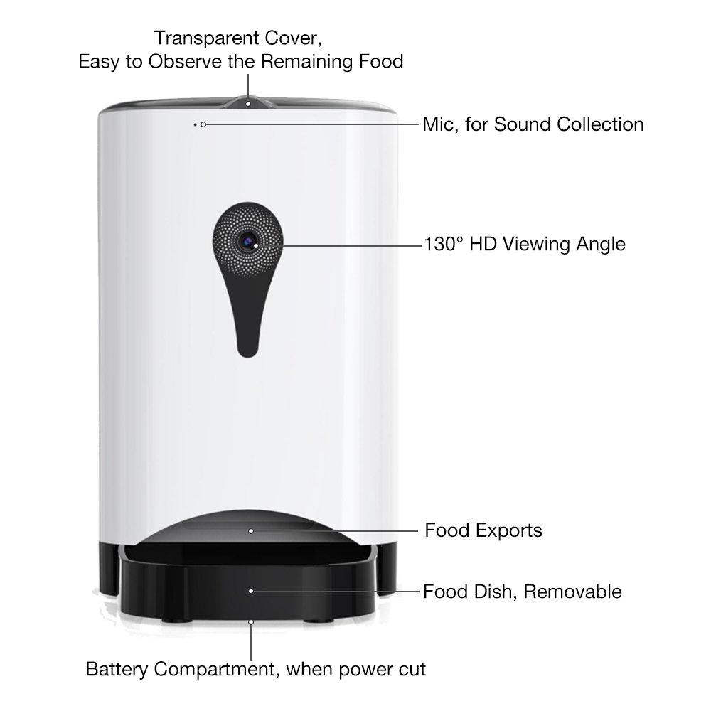 Petcomer 4.5 Litros Alimentador Automático de Mascotas Inteligente HD Wifi Supervisión en Tiempo Real de la Cámara para Perros Gatos por Aplicación del ...