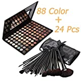 Warm Eye Shadow Warm Eye Shadow 88 Color Palette with 24 pcs Makeup Brushes Set Hot