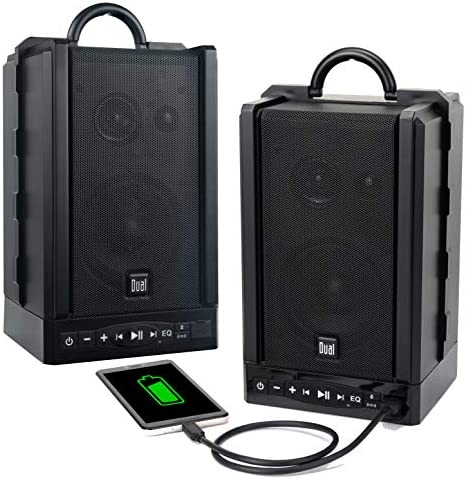 Twin Electronics LU48BTS Wi-fi Moveable Bluetooth Audio system   TruWireless Stereo   100ft Wi-fi Vary   Loud & Deep Wealthy Bass   12 Hour Playtime   IPX4   No Wires Wanted   Bought in Pairs