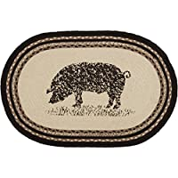 VHC Brands 38043 Classic Country Farmhouse Flooring-Sawyer Mill White Oval Jute Rug, One Size, Pig