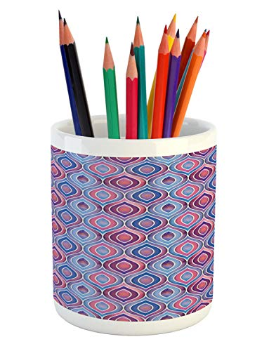 Lunarable Bohemian Pencil Pen Holder, Abstract Ornamental Pattern with Folkloric Batik Tiles Dotted Oval Shapes, Printed Ceramic Pencil Pen Holder for Desk Office Accessory, Blue Purple Pink