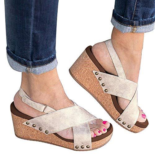 Athlefit Women's Strap Wedges Sandals Platform Faux Leather Cork High Heels Size 6.5 Beige