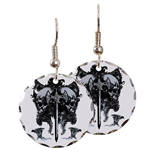 Earring Circle Charm Dragon Sword and Skulls Medieval