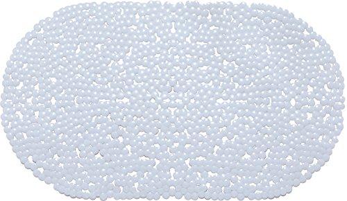 Melange 612409784353 Non-Slip Anti-Bacterial PVC Oval Shape Bathtub Mat,Clear,27.25 X - Bathtub Shape