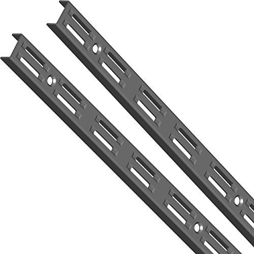 Element System Wandschiene 2-reihig, 2 Stück, 4 Abmessungen, 3 farben, lange 100 cm für Regalsystem, Regalträger, Wandregal, schwarz, 10001-00011