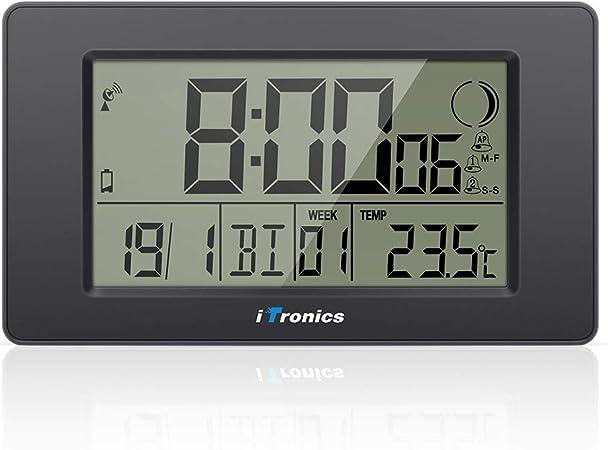 iTronics Reloj de Radio Digital de Pared con Indicador de Temperatura Reloj despertador Temporizador de cuenta atrás, Negro: Amazon.es: Hogar