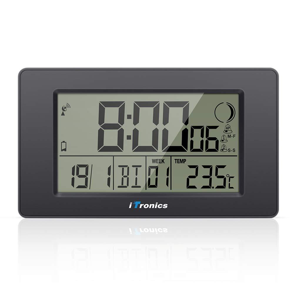 iTronics Reloj de Radio Digital de Pared con Indicador de Temperatura Reloj despertador Temporizador de cuenta