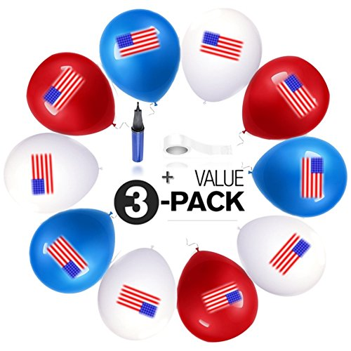 PureGoal American Flag Balloons kit - 30 Quality Latex Balloons (12 inch - Helium / Regular) + Air Pump + Ribbon, Ultimate kit for 4th of July, USA National / Patriotic Events.