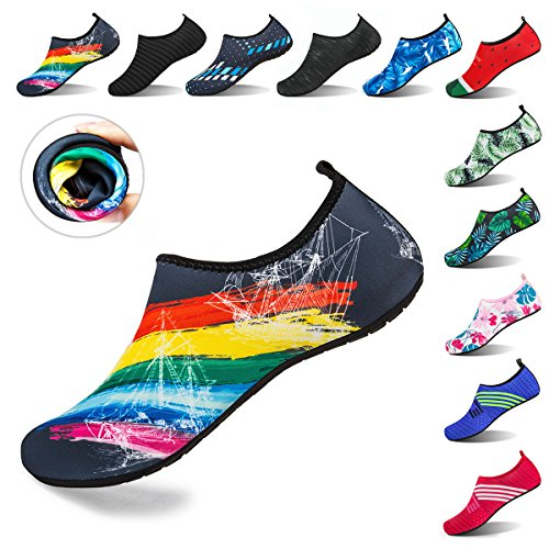 DKRUCAK Womens and Mens Water Sports Shoes Barefoot Quick-Dry Aqua Yoga Socks Slip-On for Beach Swim Surf Exercise,B/Rainbow 37-38