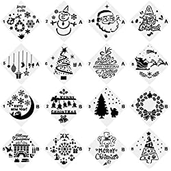 URlighting Christmas Stencils (16 Pcs), Bullet Stencil Template Set - Santa Claus, Christmas Tree, Jingling Bell, Snowman Patterns for Card, Wood DIY Drawing Painting Craft Projects