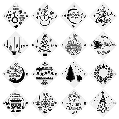 URlighting Christmas Stencils (16 Pcs), Bullet Stencil Template Set - Santa Claus, Christmas Tree, Jingling Bell, Snowman Patterns for Card, Wood DIY Drawing Painting Craft Projects ()