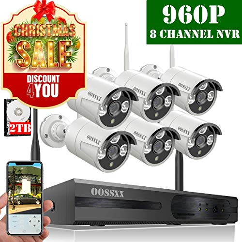 【2019 Update】 HD 1080P 8-Channel OOSSXX Wireless Security Camera System,6Pcs 960P(1.3 Megapixel) Wireless Indoor/Outdoor IR Bullet IP Cameras,P2P,App, HDMI Cord & 2TB HDD Pre-Install -