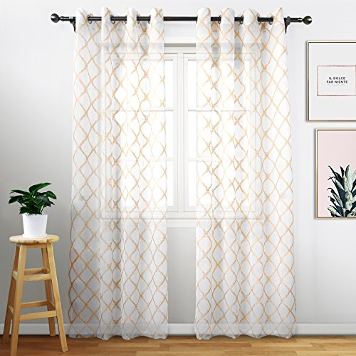 White Curtains 63 inches Long - Embroidered Trellis Voile Sh