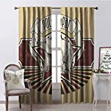 Gloria Johnson Animal Blackout Curtain Vintage Retro Polar Bear Label with Bold Stripes Artwork Image 2 Panel Sets W52 x L54 Inch Peach White Black and Burgundy