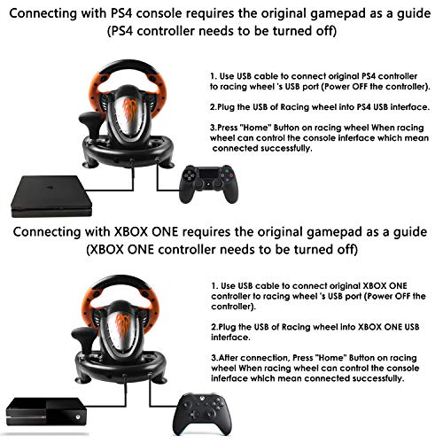 180 Degree Dual-Motor Vibration Driving Gaming Racing Wheel with Responsive Pedals for PC/PS3/PS4/XBOX ONE/Switch PXN-V3II (Orange) 51ssmjvo4pL