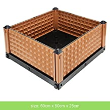 GreenWise ® Stackable Plastic Square Garden Flower Plant Planter Raised Garden Bed Vegetable Gardening Planter Kit w/ Water Reservoir and Drainage (Brown, 19 3/4 x 19 3/4 x 9 7/8-Inch)