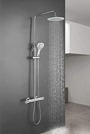 Rociador y ducha de mano cuadrados Acabados cromo Repuestos originales garantizados Columna de ducha MOL con grifo termost/ático y tubo redondo extensible de 100 a 150 cm ideal con ba/ñera Kibath