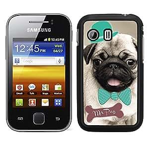 Funda carcasa para Samsung Galaxy Y diseño dibujo perro mr pug carlino con pajarita y sombrero borde negro