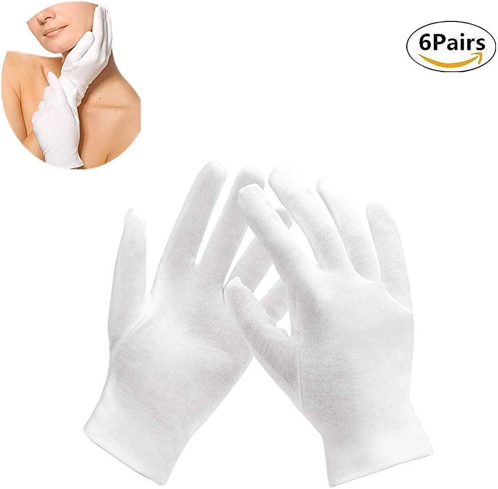YIYI 6 pares de guantes de algodón blanco, guantes hidratantes ...