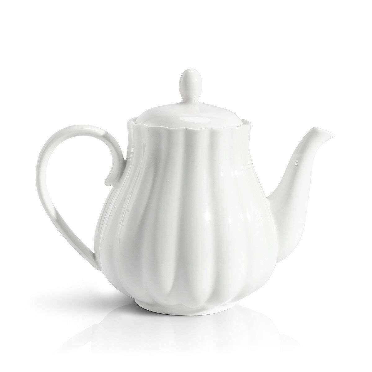 Sweese 2301 Teapot Pumpkin Fluted Shape, White - 28 Ounce