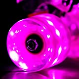 Wonnv LED Light-up Skateboard Wheels with ABEC-7 Bearings - Smoother Quieter Ride - 60x45mm - Pink Wheels