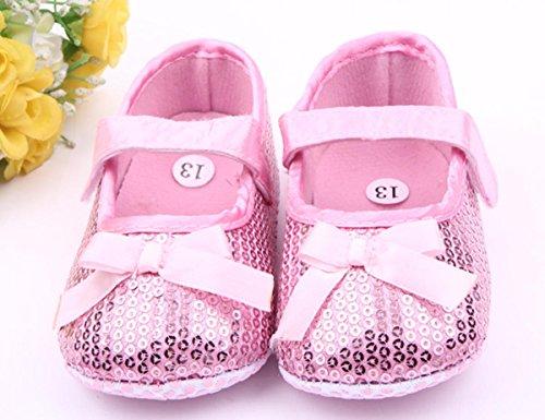 Happy Cherry Zapatos Lentejuelas Bebés Niñas Zapatillas Brillantes con Velcro Suela Antideslizante Rosado