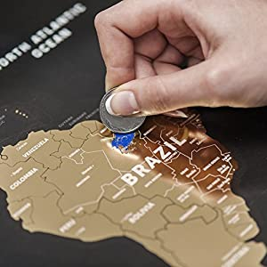 """Black Scratch Off Places World Map - Premium Edition Travel Map - 31.5"""" x 23.6"""" - Made From Flexible Plastic"""