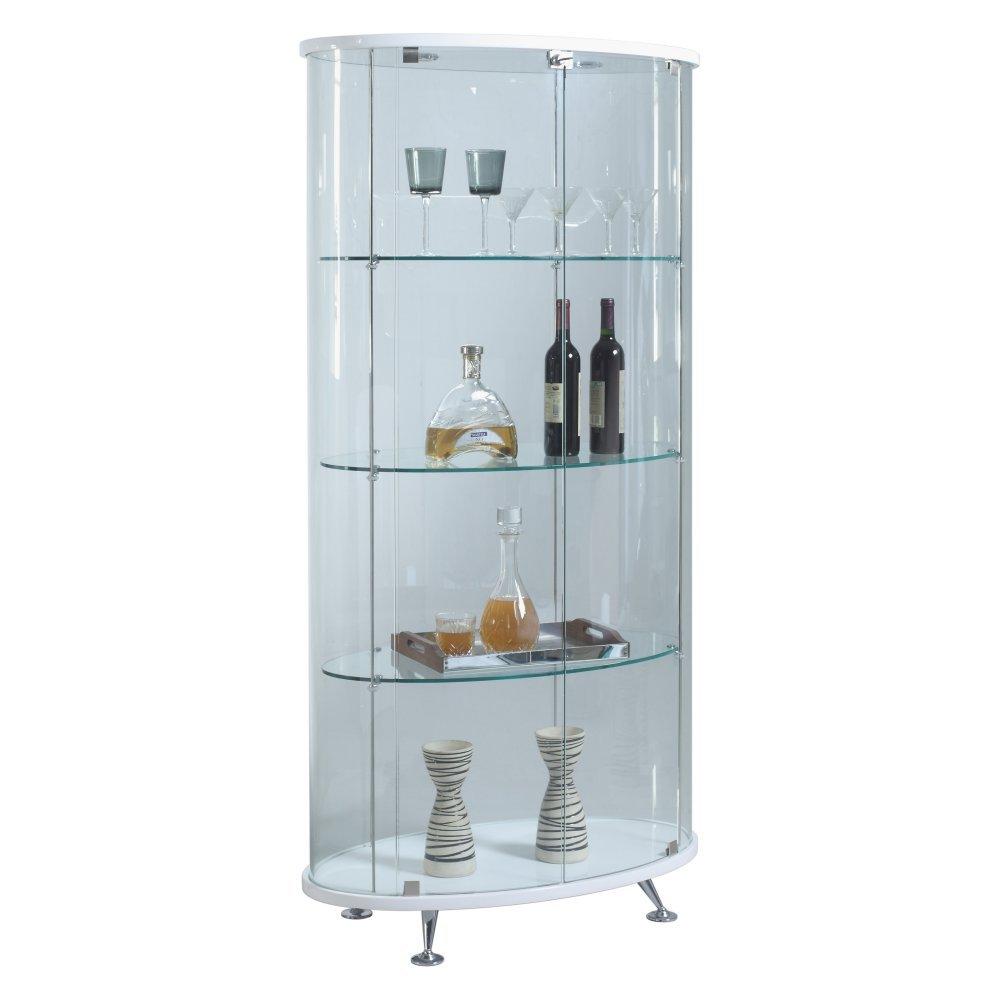 Glass Curio Cabinets With Lights Amazoncom Chintaly Imports Oval Glass Curio Cabinet With 2 Doors