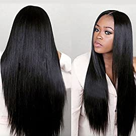 Long Silky Straight Glueless Lace Front Wigs Heat Resistant Synthetic Hair Replacement For Women