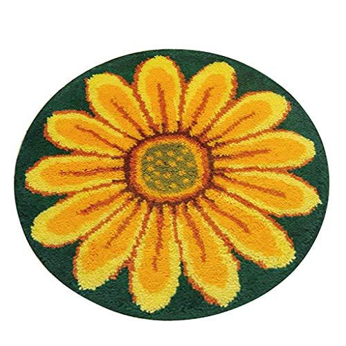 SM SunniMix DIY Latch Hook Rug Patterns Florals Dogs Football Carpet Latch Hooking Kits - Yellow Flower
