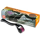 MEDca (540 Needles) Derma Micro Needle Roller Black Titanium for Wrinkles, Scar, Acne, Cellulite Treatment (2.00mm)