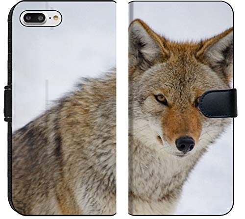 (Liili Premium iPhone 8 Plus Flip Micro Fabric Wallet Case Image ID: 18732532 Coyote Looking at The viewer on Snowy Background )