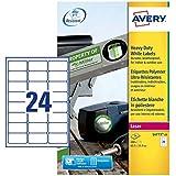 Avery L4773-20 - Lote de etiquetas adhesivas (24 por folio, 480 unidades, 63,5 x 33,9 mm), color blanco