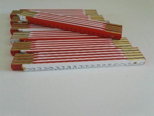 7 Zollst/öcke 2 Meter Holz wei/ß rot