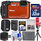 Nikon Coolpix W300 4K Wi-Fi Shock & Waterproof Digital Camera (Orange) 32GB Card + Case + Battery & Charger + Flex Tripod + Float Strap + Kit