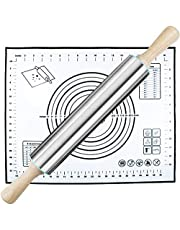 Rolling Pin and Silicone Pastry Mat Set,Stainless Steel Rolling Pin 17 Inch for Baking Dough,Fondant,Dumpling,Pizza,Pie,Pastries,Pasta and Cookies