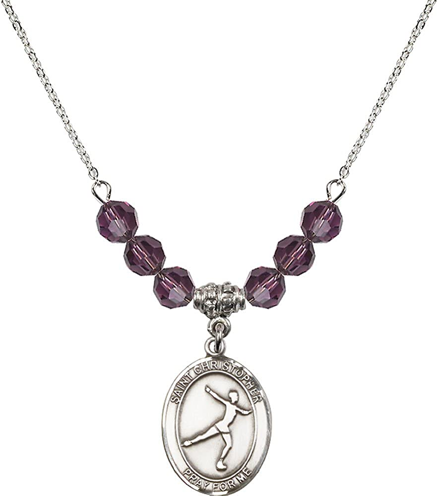 18-Inch Rhodium Plated Necklace with 6mm Amethyst Birthstone Beads and Sterling Silver Saint Christopher//Figure Skating Charm.