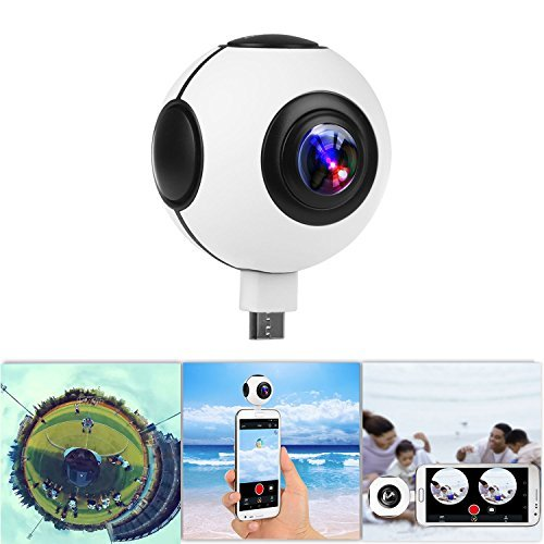 【720°】KOCASO Dual Lens Real-Time HD 1080P VR Panorama Camera. Dual Built-In 360° Fisheye Spherical Lenses, Night Vision 2048x1024 Recording, YouTube/FB Live, Time-Relapse Recording- Android - White by Kocaso