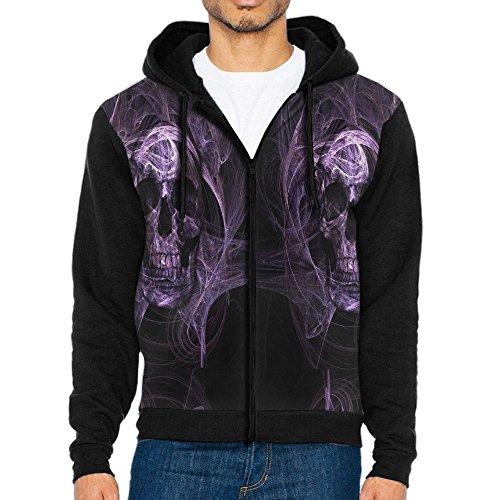 Black Panther Half Mask (Men's Dark Skull Evil Horror Skeleton Casual Pocket Sweatshirt Full Zip Hoodie Crew Hooded Shirts Athletic Sportwear)